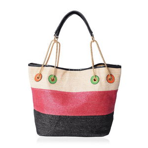 Natural, Red & Black Straw and Polyester Tote Bag (12.5x6x10 in)