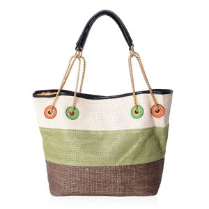 Natural, Green & Brown Straw and Polyester Tote Bag (12.5x6x10 in)