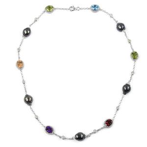 Tahitian Pearl (10.5-11 mm), Multi Gemstone Sterling Silver Necklace (20 in) TGW 16.27 cts.