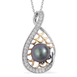 Tahitian Pearl (10-11 mm), White Zircon 14K YG Over and Sterling Silver Pendant With Chain (18 in) TGW 0.53 cts.