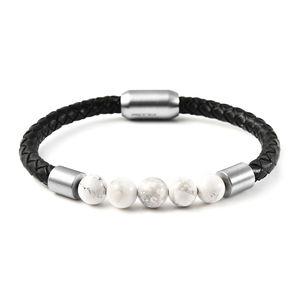 White Howlite, Braided Genuine Leather and Stainless Steel Men's 5 Stone Beaded Woven Bracelet with Magnetic Clasp (8.50 In) TGW 5.00 cts.