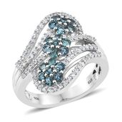 Monte Belo Indicolite, Cambodian Zircon Platinum Over Sterling Silver Floral Ring (Size 7.0) TGW 1.75 cts.