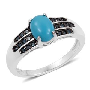 Customer Appreciation Day Arizona Sleeping Beauty Turquoise, Blue Diamond Black Rhodium & Sterling Silver Ring (Size 8.0) Total Diamond Weight 0.21 Carat, Total Gem Stone Weight 1.21 Carat