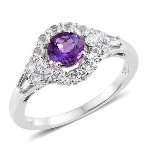 Moroccan Amethyst, White Topaz Platinum Over Sterling Silver Ring (Size 7.0) TGW 1.90 cts.