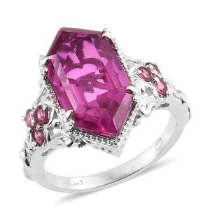 Radiant Orchid Triplet Quartz, Pink Tourmaline Platinum Over Sterling Silver Ring (Size 7.0) TGW 9.29 cts.