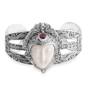 Bali Goddess Collection Carved Bone, Niassa Ruby Sterling Silver Cuff (7.50 in) TGW 7.74 cts.