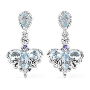 Espirito Santo Aquamarine, Multi Gemstone Platinum Over Sterling Silver Earrings TGW 2.90 cts.