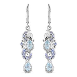 Espirito Santo Aquamarine, Multi Gemstone Platinum Over Sterling Silver Earrings TGW 2.02 cts.