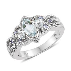Espirito Santo Aquamarine, Tanzanite Platinum Over Sterling Silver Ring (Size 5.0) TGW 1.51 cts.