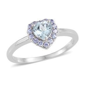 Espirito Santo Aquamarine, Tanzanite Platinum Over Sterling Silver Heart Ring (Size 7.0) TGW 0.88 cts.