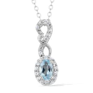 Espirito Santo Aquamarine, Cambodian Zircon Platinum Over Sterling Silver Pendant With Chain (20 in) TGW 0.71 cts.