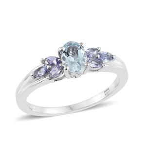 Espirito Santo Aquamarine, Tanzanite Platinum Over Sterling Silver Ring (Size 5.0) TGW 1.11 cts.