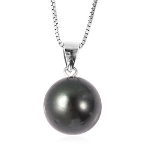 Tahitian Pearl (12-13 mm) Sterling Silver Pendant With Chain (20 in)