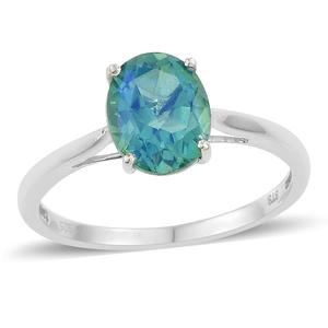 Peacock Quartz Platinum Over Sterling Silver Solitaire Ring (Size 10.0) TGW 2.90 cts.