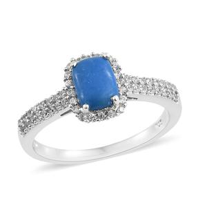 Ceruleite, Cambodian Zircon Platinum Over Sterling Silver Ring (Size 7.0) TGW 1.96 cts.