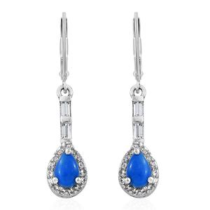 Ceruleite, White Topaz Platinum Over Sterling Silver Lever Back Earrings TGW 1.15 cts.