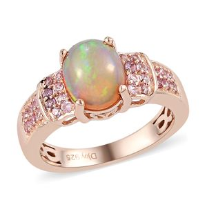 Customer Appreciation Day Ethiopian Welo Opal, Madagascar Pink Sapphire Vermeil RG Over Sterling Silver Ring (Size 10.0) TGW 1.53 cts.