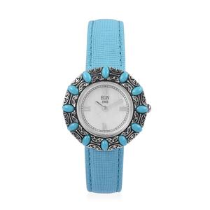 EON 1962 Arizona Sleeping Beauty Turquoise Swiss Movement Water Resistant Watch with Blue Faux Leather Band and Stainless Steel Back TGW 3.00 cts.