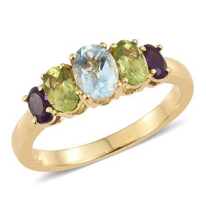 KARIS Collection - Sky Blue Topaz, Hebei Peridot, Amethyst ION Plated 18K YG Brass 5 Stone Ring (Size 7.0) TGW 2.32 cts.