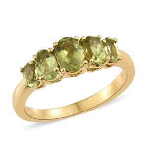 KARIS Collection - Hebei Peridot ION Plated 18K YG Brass 5 Stone Ring (Size 7.0) TGW 2.51 cts.