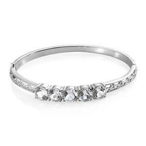 White Topaz Stainless Steel Bangle (7.25 in) TGW 12.00 cts.