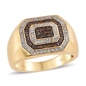 July 4th DOORBUSTER Red Diamond (IR), Diamond Vermeil YG Over Sterling Silver Men's Ring (Size 10.0) TDiaWt 0.50 cts, TGW 0.50 cts.