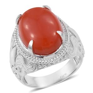 KARIS Collection - Enhanced Red Chalcedony Platinum Bond Brass Ring (Size 7.0) TGW 10.44 cts.