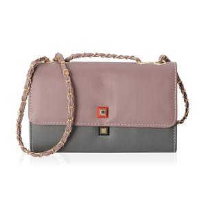 Pink and Grey Crossbody Bag (10.1x3.3x6.1 in) with Magnetic Closure