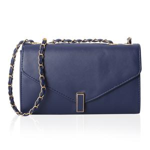 Navy Crossbody Bag (10.1x3.3x6.1 in) with Turn-Lock Closure