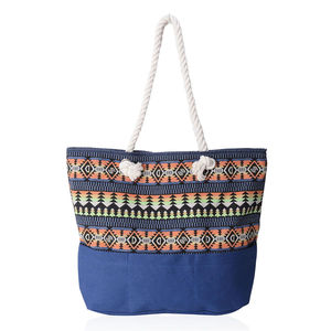 Blue with Multi Color Tree and Diamond Pattern 100% Polyester Jacquard Tote Bag (19.2x14.6x15.4 in)