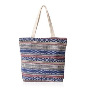 Blue and Red with Beige Rhombus Pattern 100% Polyester Jacquard Tote Bag (16.4x12.5x15 in)