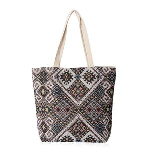 Beige with Multi Color Rhombus Pattern 100% Polyester Jacquard Tote Bag (16.4x12.5x15 in)