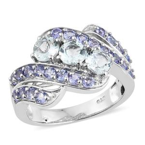 Espirito Santo Aquamarine, Tanzanite Platinum Over Sterling Silver Ring (Size 7.0) TGW 2.68 cts.