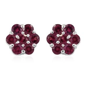 Orissa Rhodolite Garnet Sterling Silver Floral Earrings TGW 1.30 cts.