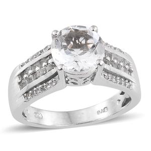 Petalite, White Topaz Platinum Over Sterling Silver Ring (Size 8.0) TGW 3.15 cts.