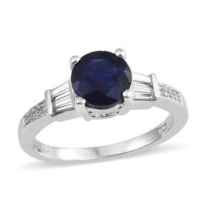 Masoala Sapphire, Cambodian Zircon Platinum Over Sterling Silver Ring (Size 6.0) TGW 3.45 cts.