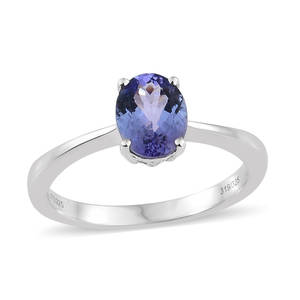 Tanzanite Platinum Over Sterling Silver Oval Cut Solitaire Ring (Size 9.0) TGW 2.10 cts.