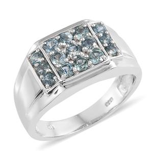 Montana Sapphire Platinum Over Sterling Silver Men's Ring (Size 10.0) TGW 2.00 cts.
