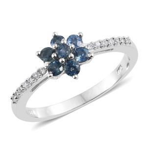 Montana Sapphire, Cambodian Zircon Platinum Over Sterling Silver Floral Ring (Size 7.0) TGW 0.81 cts.