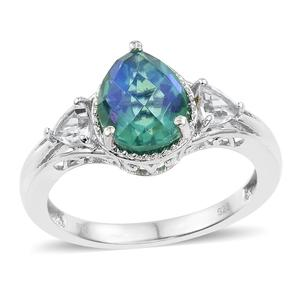 Peacock Quartz, White Topaz Platinum Over Sterling Silver Ring (Size 7.0) TGW 3.56 cts.