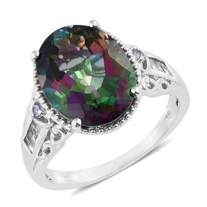 Northern Lights Mystic Topaz, Multi Gemstone Platinum Over Sterling Silver Ring (Size 10.0) TGW 11.81 cts.