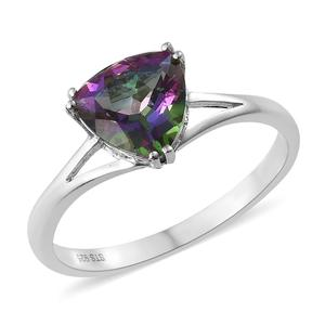 Northern Lights Mystic Topaz Platinum Over Sterling Silver Solitaire Ring (Size 10.0) TGW 2.70 cts.