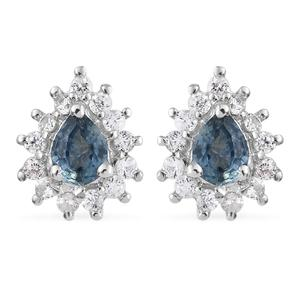 Montana Sapphire, Cambodian Zircon Platinum Over Sterling Silver Earrings TGW 0.73 cts.