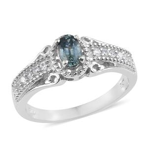 Montana Sapphire, Cambodian Zircon Platinum Over Sterling Silver Ring (Size 5.0) TGW 0.90 cts.