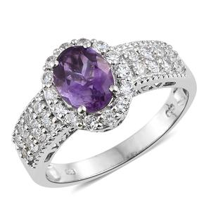 Moroccan Amethyst, Cambodian Zircon Platinum Over Sterling Silver Ring (Size 10.0) TGW 3.25 cts.