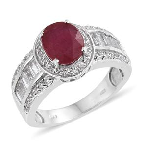 Niassa Ruby, White Topaz Platinum Over Sterling Silver Ring (Size 8.0) TGW 5.94 cts.