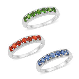 Set of 3 Crimson Fire Opal, Himalayan Kyanite, Russian Diopside Platinum Over Sterling Silver 7 Stone Band Rings (Size 5) TGW 2.17 cts.