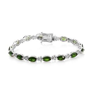 Russian Diopside Platinum Over Sterling Silver Bracelet (7.25 In) TGW 8.35 cts.