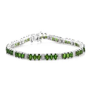 Russian Diopside, Cambodian Zircon Platinum Over Sterling Silver Station Bracelet (7.25 In) TGW 11.70 cts.
