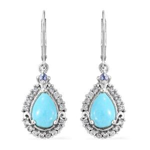 Arizona Sleeping Beauty Turquoise, Multi Gemstone Platinum Over Sterling Silver Lever Back Drop Earrings TGW 4.39 cts.